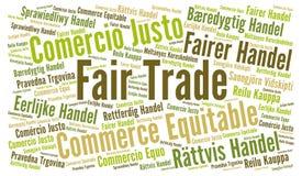 Nube de la palabra del comercio justo en otros idiomas stock de ilustración