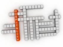 nube de la palabra del concepto de la hospitalidad 3d Imagen de archivo libre de regalías