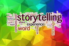Nube de la palabra del concepto de la narración en un fondo polivinílico bajo