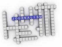 nube de la palabra del concepto del periodismo 3d Imagenes de archivo