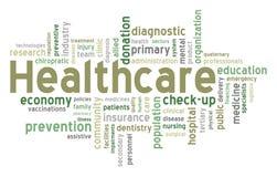 Nube de la palabra del cuidado médico Imagen de archivo
