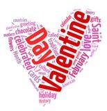 Nube de la palabra del día de tarjeta del día de San Valentín Foto de archivo libre de regalías