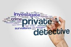 Nube de la palabra del detective privado Imagen de archivo