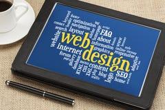Nube de la palabra del diseño web Fotografía de archivo