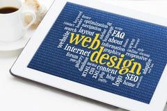 Nube de la palabra del diseño web Foto de archivo