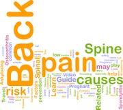 Nube de la palabra del dolor de espalda Imagen de archivo libre de regalías