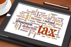 Nube de la palabra del impuesto imagen de archivo