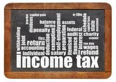Nube de la palabra del impuesto sobre la renta Imágenes de archivo libres de regalías
