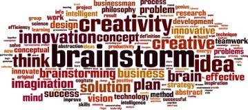 Nube de la palabra del intercambio de ideas stock de ilustración