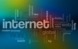 Nube de la palabra del Internet Imagen de archivo libre de regalías