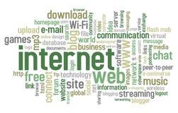 Nube de la palabra del Internet Imagen de archivo