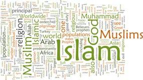 Nube de la palabra del Islam Imagenes de archivo