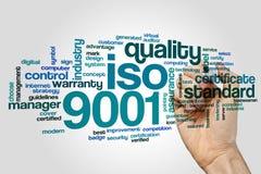 Nube de la palabra del ISO 9001 imagen de archivo libre de regalías