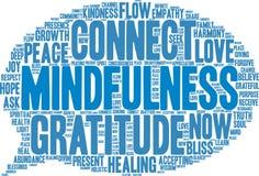Nube de la palabra del Mindfulness Imagen de archivo libre de regalías