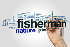 Nube de la palabra del pescador Imagen de archivo libre de regalías