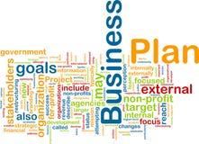 Nube de la palabra del plan empresarial Foto de archivo libre de regalías
