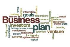 Nube de la palabra del plan empresarial Imagen de archivo