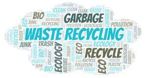 Nube de la palabra del reciclaje de residuos imagenes de archivo