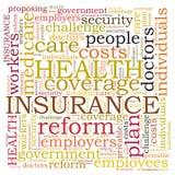 Nube de la palabra del seguro médico Fotos de archivo libres de regalías