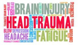 Nube de la palabra del traumatismo craneal Fotografía de archivo libre de regalías