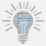 Nube de la palabra del vector de la bombilla de la innovación libre illustration