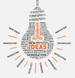 Nube de la palabra del vector de la bombilla de las ideas Foto de archivo libre de regalías