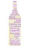 Nube de la palabra del vino de California Imagen de archivo