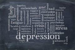 Nube de la palabra de la depresión en la pizarra Fotos de archivo