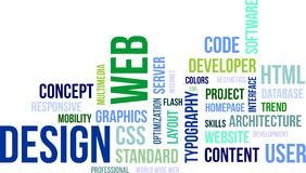 Nube de la palabra - diseño web Imágenes de archivo libres de regalías
