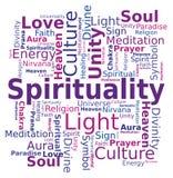 Nube de la palabra - espiritualidad Imágenes de archivo libres de regalías