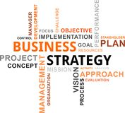 Nube de la palabra - estrategia empresarial Imagenes de archivo