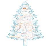 Nube de la palabra de la Feliz Navidad en forma del árbol foto de archivo libre de regalías