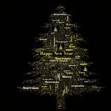 Nube de la palabra de la Feliz Navidad en forma del árbol imágenes de archivo libres de regalías