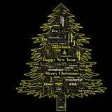 Nube de la palabra de la Feliz Navidad en forma del árbol fotografía de archivo libre de regalías