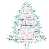 Nube de la palabra de la Feliz Navidad en forma del árbol fotos de archivo libres de regalías
