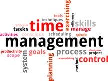 Nube de la palabra - gestión de tiempo Imagen de archivo