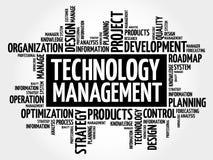Nube de la palabra de la gestión de la tecnología stock de ilustración