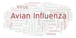 Nube de la palabra de la gripe aviar, hecha con el texto solamente stock de ilustración