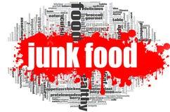 Nube de la palabra de Junk Food Fotografía de archivo