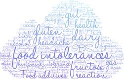Nube de la palabra de las intolerancias de la comida Imagen de archivo