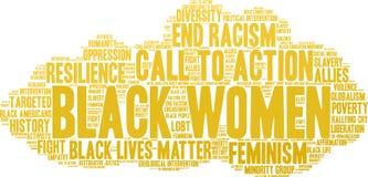 Nube de la palabra de las mujeres negras Imagen de archivo libre de regalías