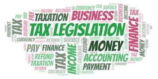 Nube de la palabra de la legislación del impuesto foto de archivo