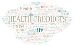 Nube de la palabra de los productos de la salud fotografía de archivo libre de regalías