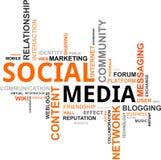 Nube de la palabra - media sociales Imágenes de archivo libres de regalías