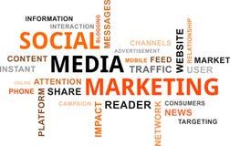 Nube de la palabra - medios márketing social Foto de archivo