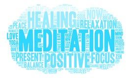 Nube de la palabra de la meditación Imágenes de archivo libres de regalías