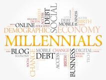 Nube de la palabra de Millennials Imagen de archivo libre de regalías