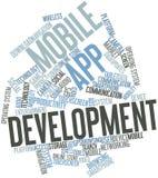 Nube de la palabra para el desarrollo móvil del app Imagen de archivo