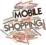Nube de la palabra para las compras móviles Imagenes de archivo