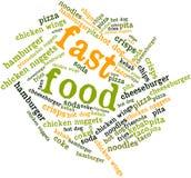 Nube de la palabra para los alimentos de preparación rápida Imagenes de archivo